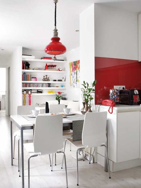 White, Room, Furniture, Dining room, Interior design, Red, Property, Table, Kitchen, Building,