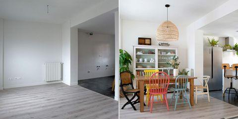 comedor moderno y colorido antes y después