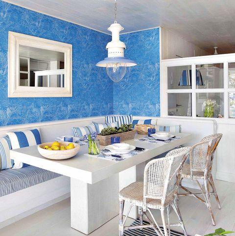 comedor de diario en azul y blanco