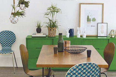 Comedor verde y azul