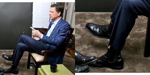 Footwear, Shoe, Sitting, Boot, Dress shoe, Leg, Riding boot, Leather, Suit, Furniture,