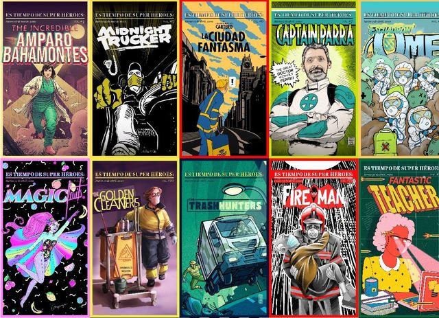 portadas de cómics en las que los héroes son médicos, enfermeros, barrenderos, bomberos, profesoras, empleadosy empleadas de supermercados en un homenaje a su trabajo durante la pandemia