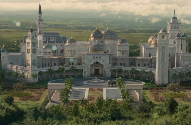 the royal palace of zamunda in coming 2 america, created using cgi and rick ross's fayetteville, georgia mansion