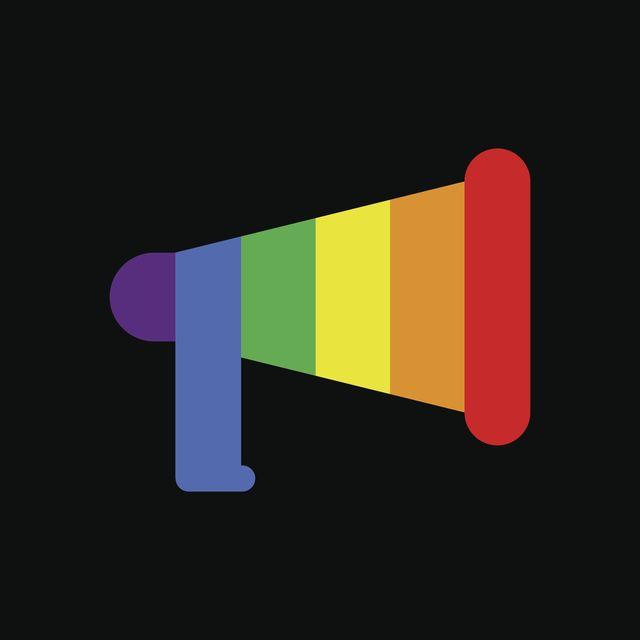 rainbow colored megaphone