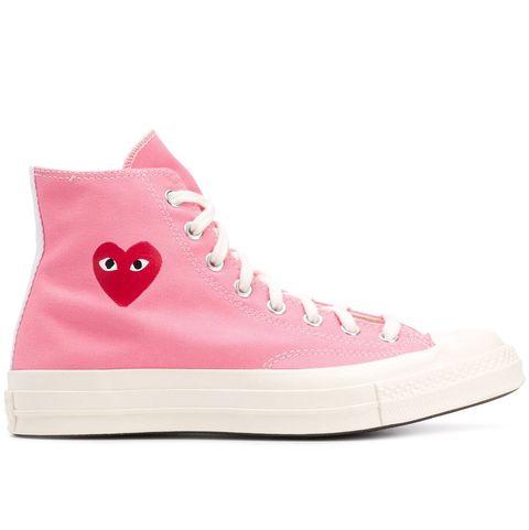 comme des garcons x converse pink shoes