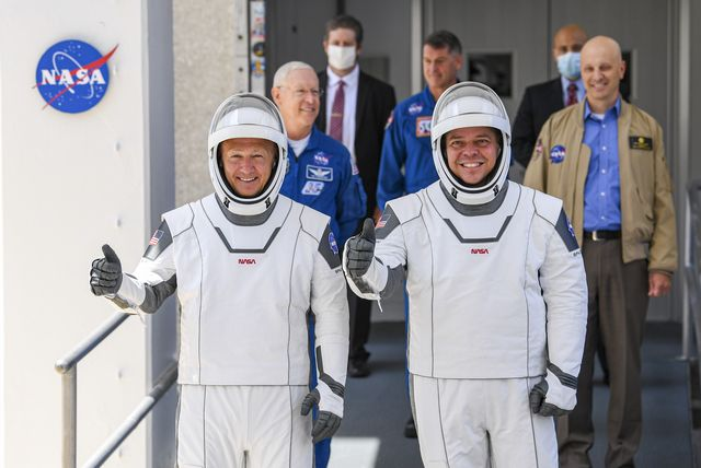 nasa commercial crew astronauts doug hurley and bob behnken blast off from historic launch complex 39a aboard the spacex falcon 9 rocket in the crew dragon capsule bound for the international space station