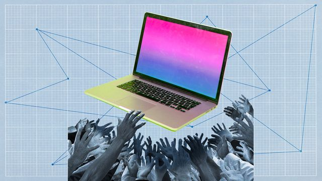 hands reaching to grab a brightly colored laptop computer