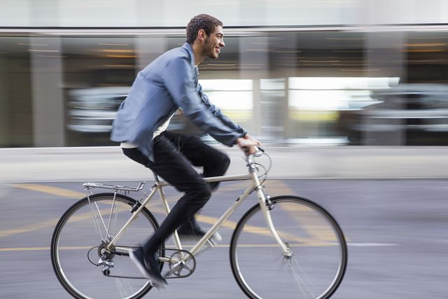 commuter cyclist in city