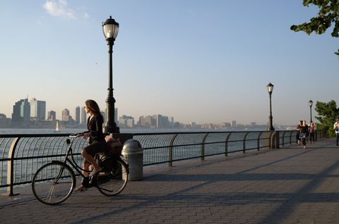 A woman with her bike.