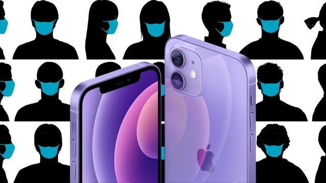 un iphone 12 en color púrpura sobre múltiples imágenes de siluetas con mascarillas