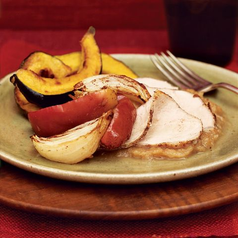 Cinnamon-Rubbed Pork Loin with Roasted Apples and Onions