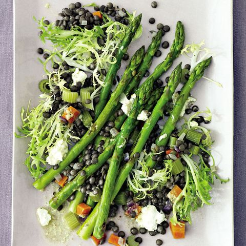 Warm Lentil Salad With Roasted Asparagus And Goat Cheese