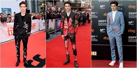 L'attore Timothée Chalamet dà una nuova idea di abito elegante scegliendo le stampe floreali per i red carpet del 2019.