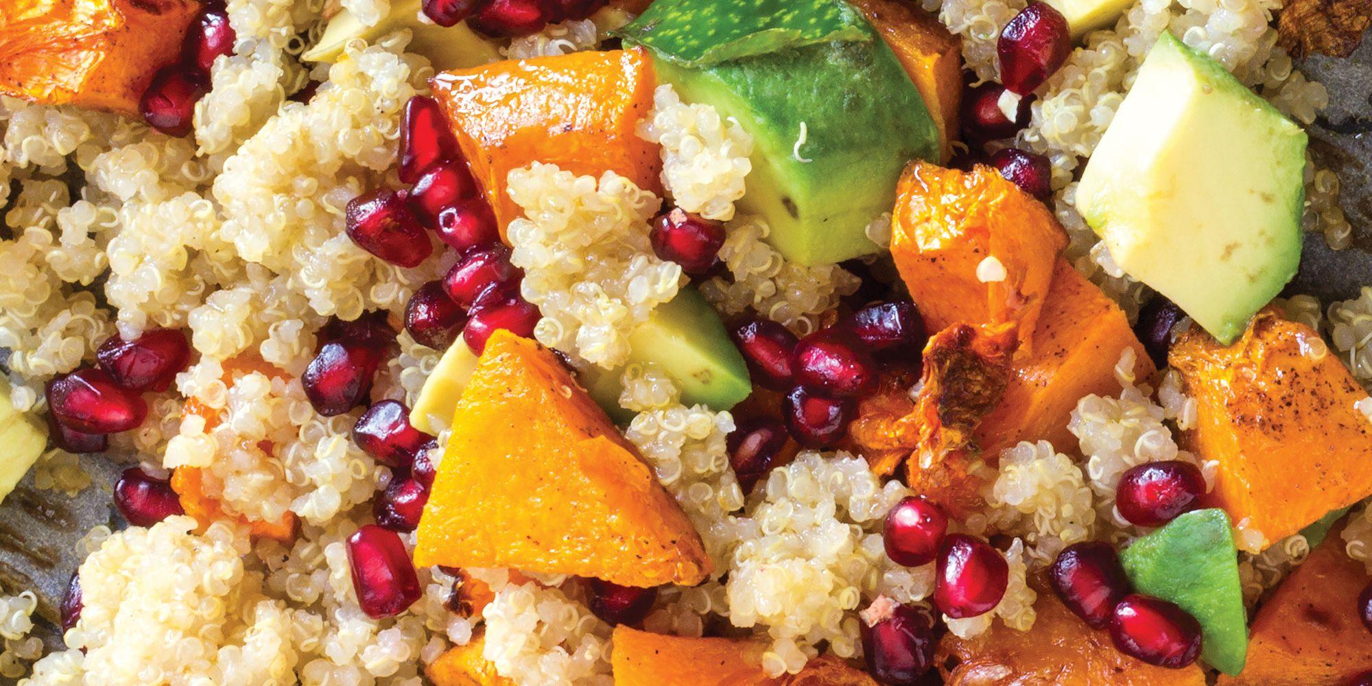 complex carbs quinoa with sweet potato, avocado, and pomegranate