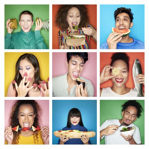 composite image of people eating healthy food