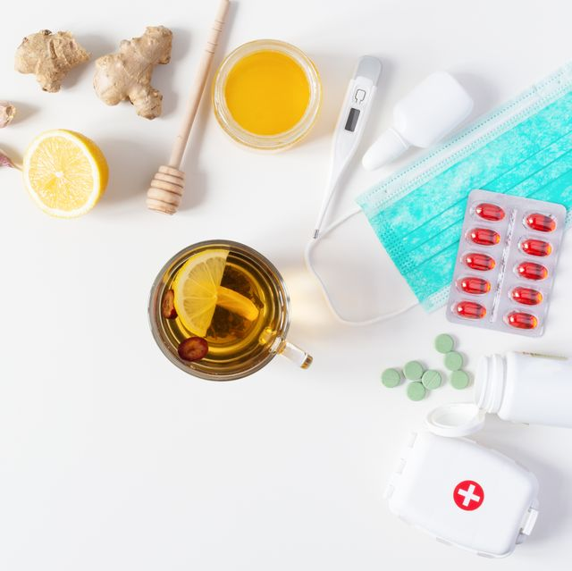 composition of cold and flu treatments medicaments and herbal medicine concept
