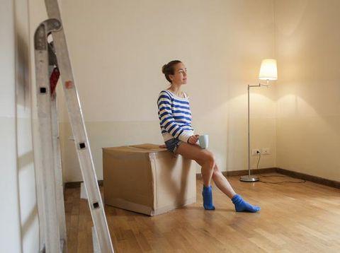 Wood, Floor, Flooring, Human leg, Shoulder, Ladder, Elbow, Standing, Room, Hardwood,