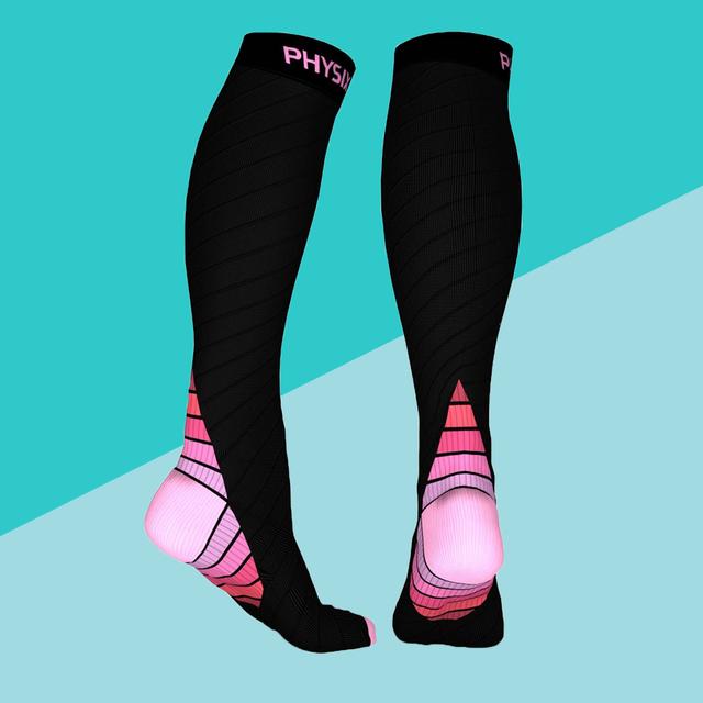 compression socks on blue background