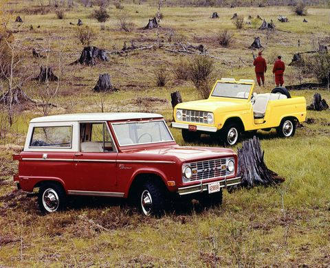 three 1969 bronco cars in red, blue, yellow