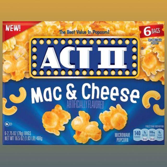 act ii microwavable mac  cheese popcorn