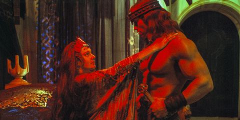 """arnold schwarzenegger and sarah douglas on the set of """"conan the destroyer"""", directed by richard fleischer, mexico city, mexico, 1983 photo by rolf konowsygmasygma via getty images"""