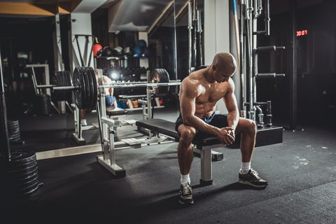 Concentrating before weightlifting