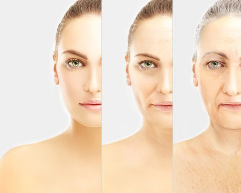 concept of aging  young girl and woman with wrinkles