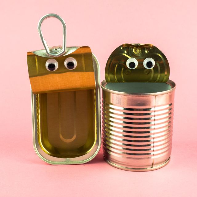 concept of love, romanticism and diversity two open tin cans with eyes