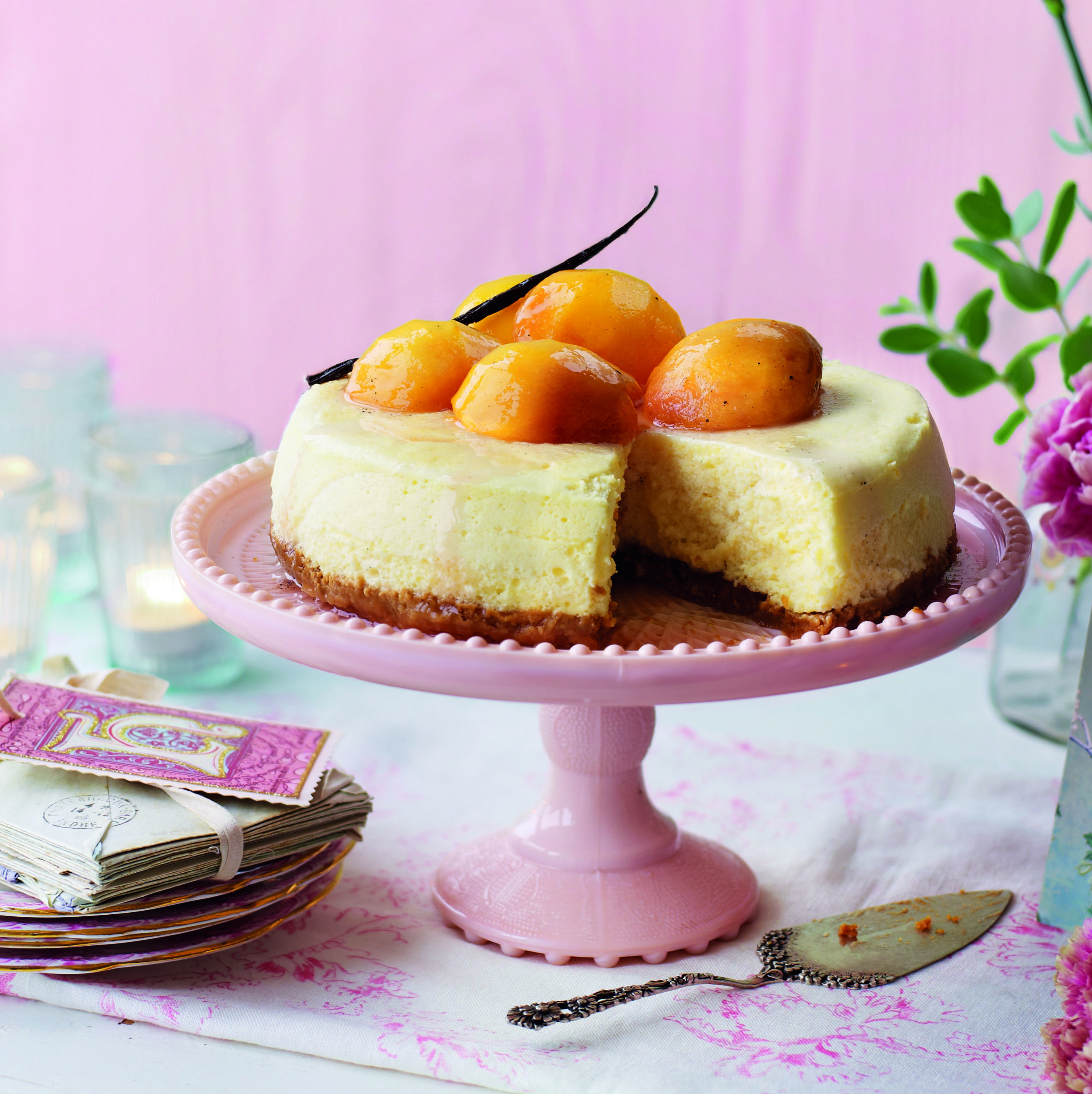Condensed milk cheesecake with poached pears
