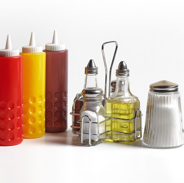 condiments on white background
