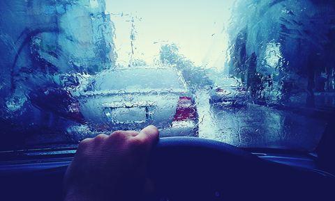 Sky, Blue, Water, Cloud, Windshield, Hand, Atmosphere, Mountain, Automotive window part, Illustration,
