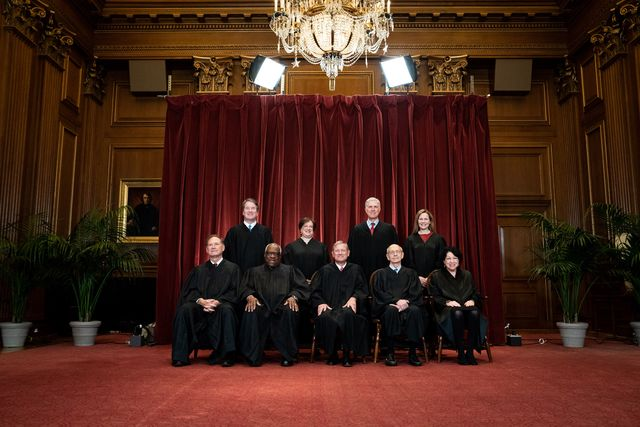 washington, dc   april 23 members of the supreme court pose for a group photo at the supreme court in washington, dc on april 23, 2021 seated from left associate justice samuel alito, associate justice clarence thomas, chief justice john roberts, associate justice stephen breyer and associate justice sonia sotomayor, standing from left associate justice brett kavanaugh, associate justice elena kagan, associate justice neil gorsuch and associate justice amy coney barrett photo by erin schaff poolgetty images