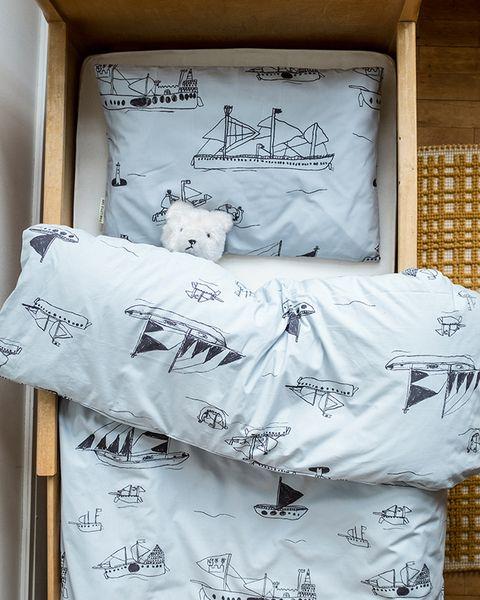 Conjunto de cama para niños con estampado de barcos