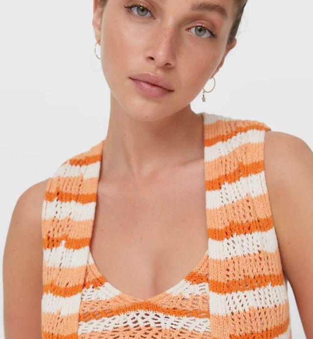 conjunto de crochet naranja rayas