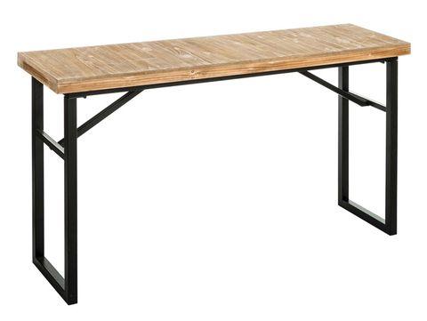 Consola de líneas sencillas y rectas en madera y metal