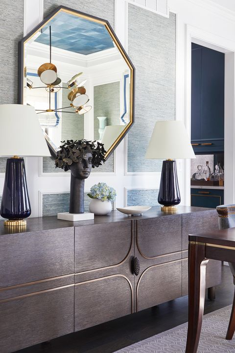 buffet table decorated in dining room