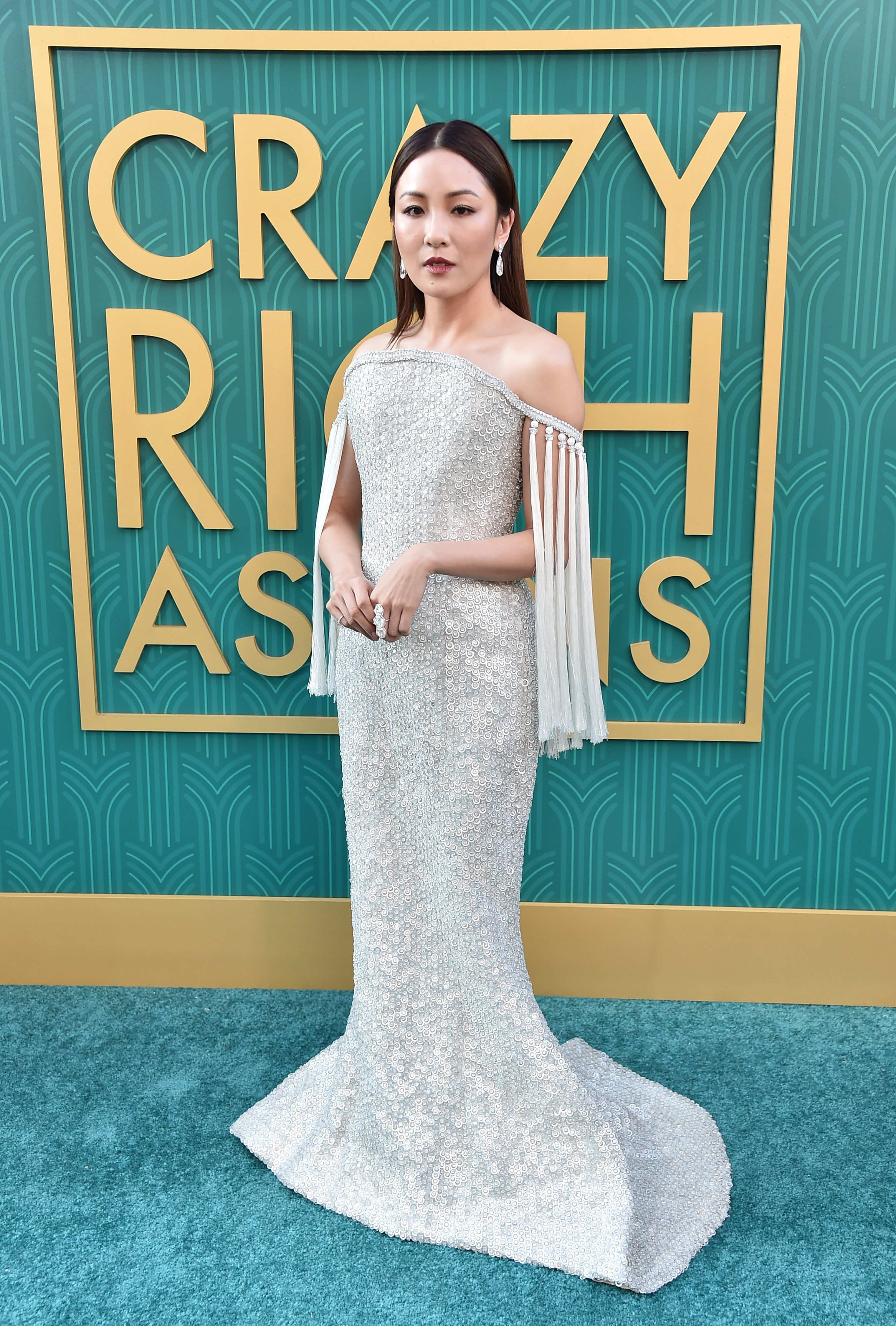 Wu was the vision of a screen siren in a silver beaded off-the-shoulder Ralph and Russo couture gown to celebrate the world premiere of Crazy Rich Asians.
