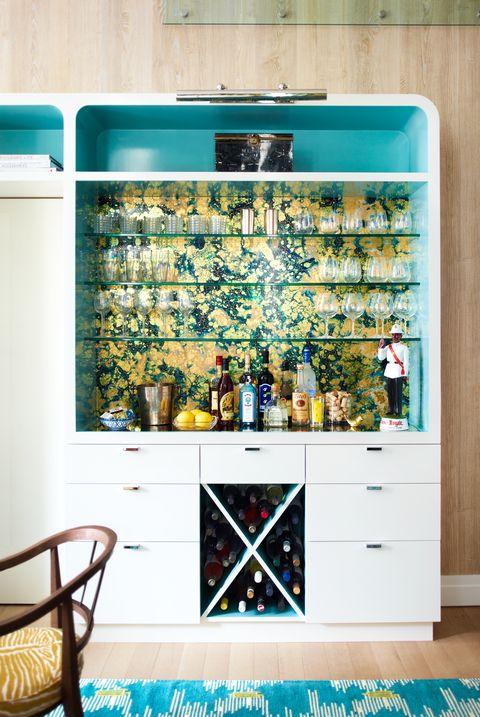 wallpaper bookshelf ideas