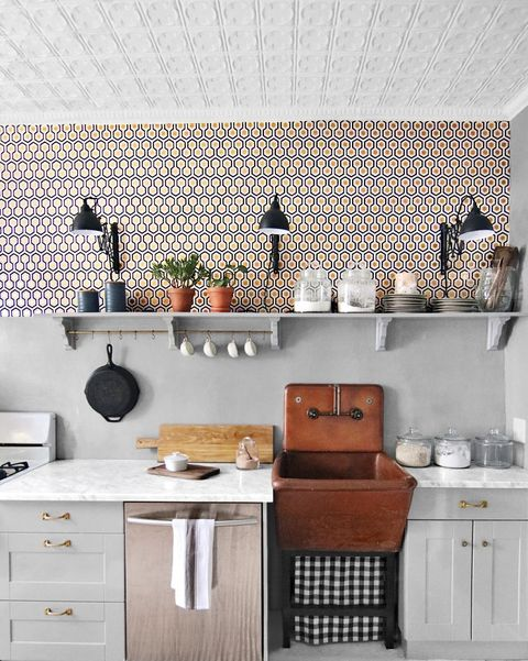 Contemporary wallpaper in a modern kitchen.