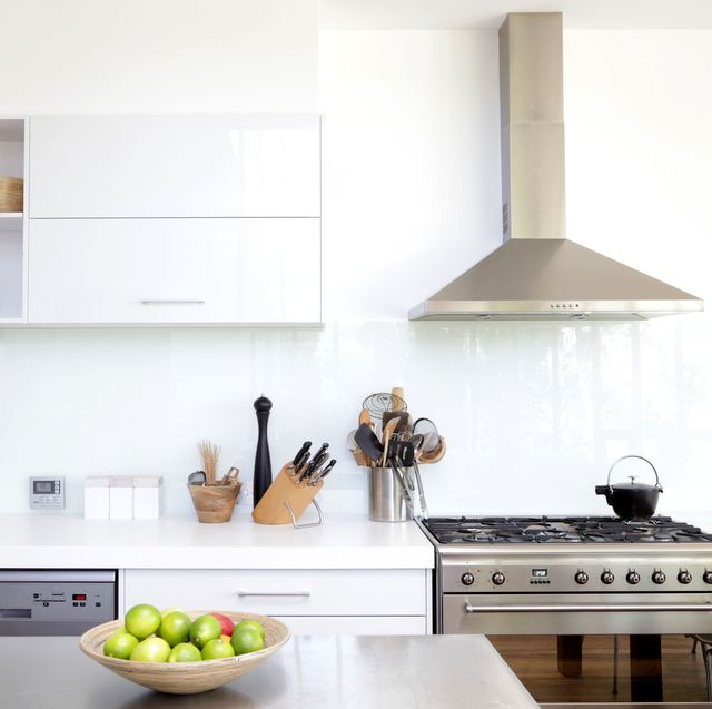 contemporary white and stainless steel new kitchen