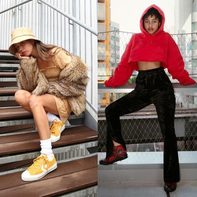 「コンバース」の2020年秋冬新作スニーカーが相棒! 今すぐ真似したい、rina&リカ・ヴァネッサのトレンドコーデ術