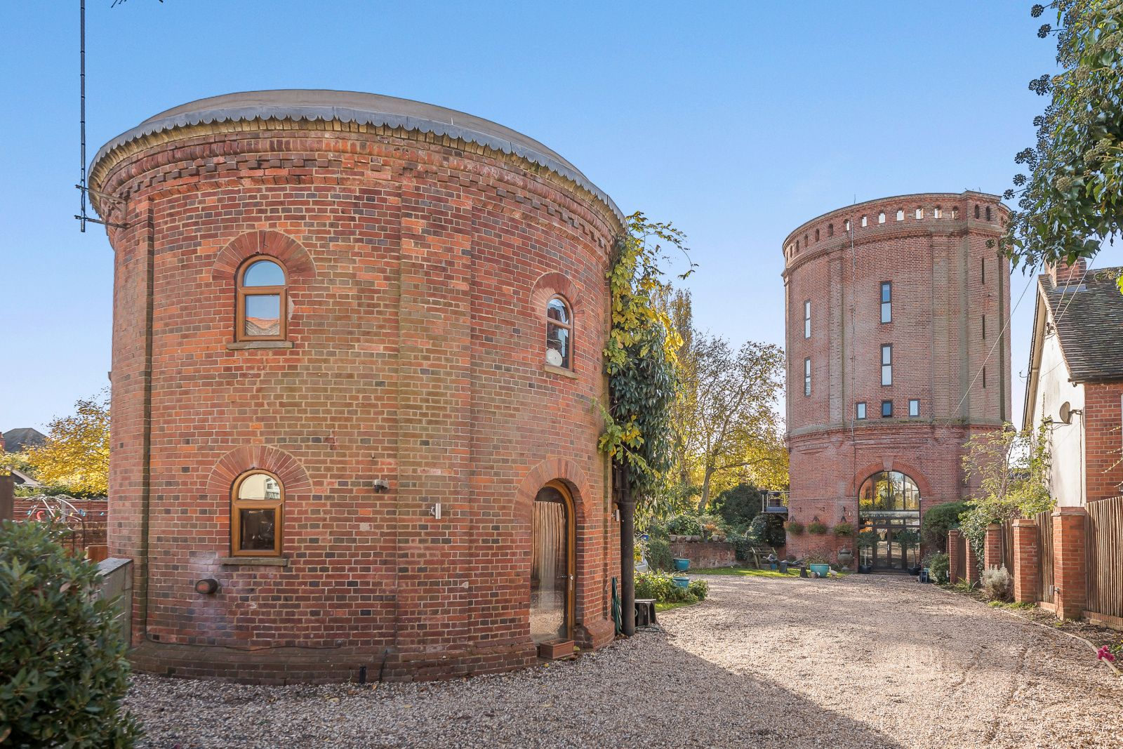 Converted, red brick, Victorian water towers in the Essex town of Halstead.