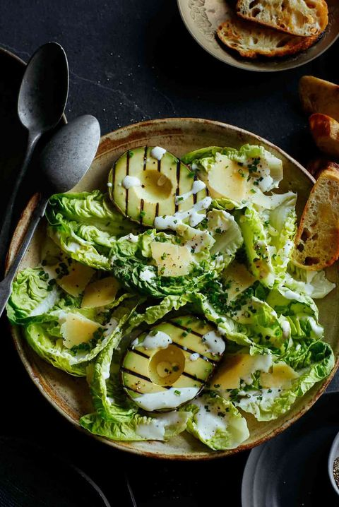 grilled avocado and gem salad with herb yogurt dressing