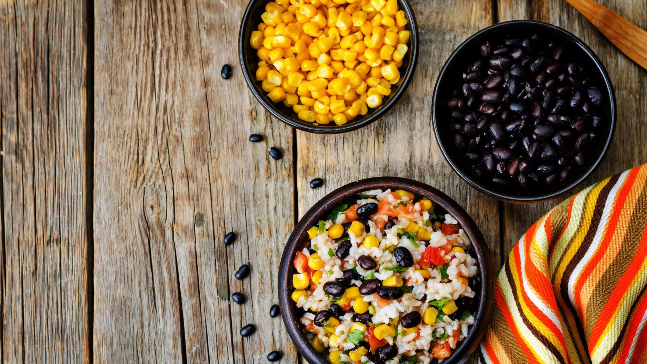 cooked black beans, rice and corn