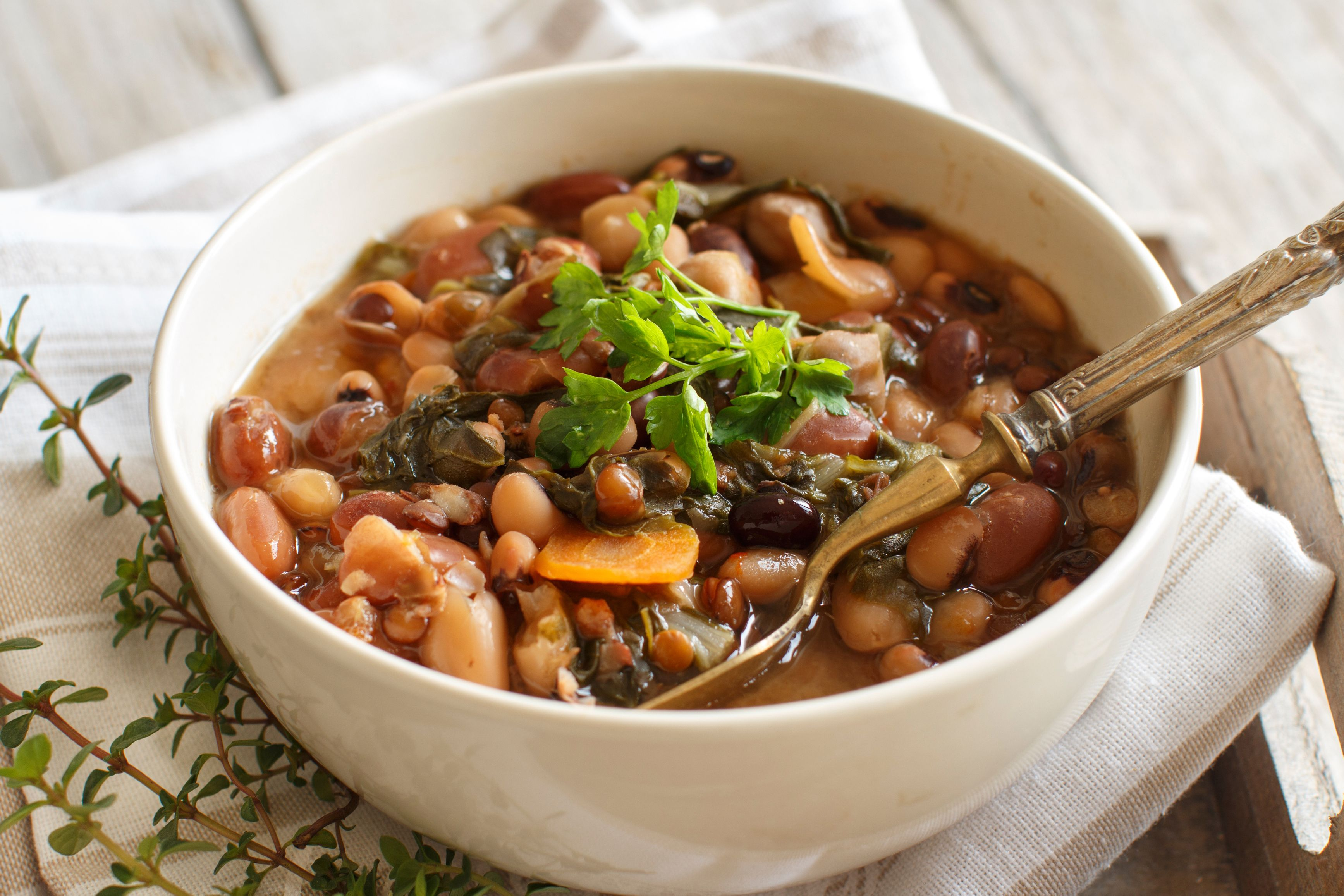 Cooked legumes and vegetables in a bowl