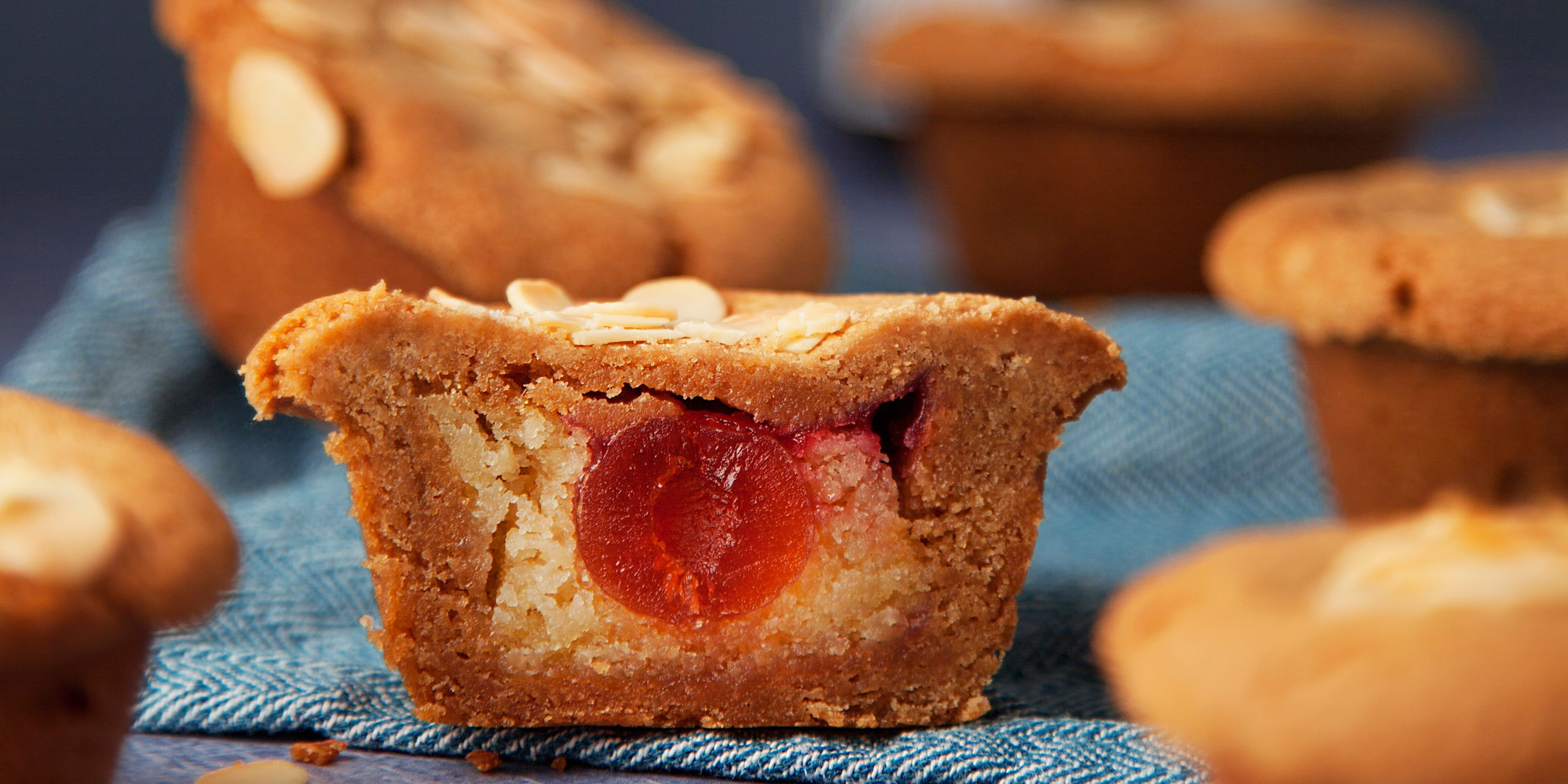 Cherry bakewell cookie cups