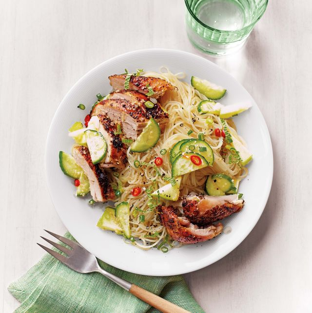 cool chicken and noodle salad