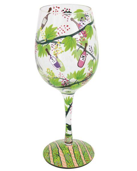 Copa de vino pintada a mano
