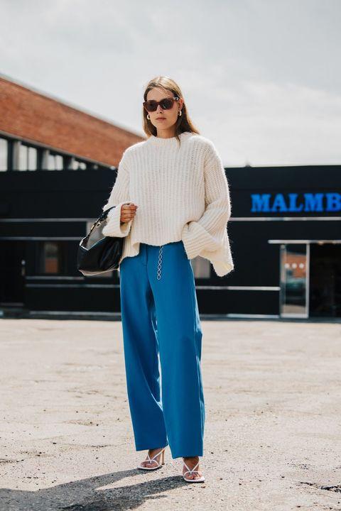 White, Clothing, Blue, Street fashion, Turquoise, Fashion, Electric blue, Footwear, Sportswear, Trousers,