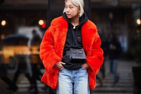 Red, Orange, Photograph, Street fashion, Clothing, Jacket, Fashion, Yellow, Snapshot, Jeans,